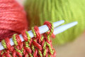 Knitting wool and needles closeup Stock Image