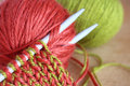 Knitting wool and needles closeup Royalty Free Stock Images