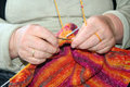 Knitting wool an old lady hands working hands Royalty Free Stock Photos