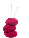 Knitting yarn and needles, vertical composition Royalty Free Stock Images