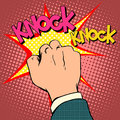 Knock door hand pop art retro style Stock Photo