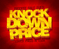 Knock down price sale banner typographic design with gold broken text against deep red rays backdrop Royalty Free Stock Images