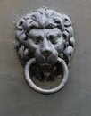 Knocker medieval door black metal lion head Royalty Free Stock Photography