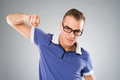 Knockout portrait of a hitting man in glasses Stock Photo