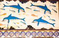 Knossos dolphins detail of the frescoes in the queen s megaron of the palace of Royalty Free Stock Photos