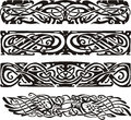 Knot designs in celtic style with birds black and white vector illustrations Stock Photo