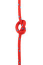 Knot in red rope tied isolated on white Royalty Free Stock Photos