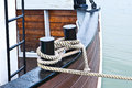 Knot at the ship to moor this boat in a harbor is on fixed knots Royalty Free Stock Images