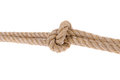 Knot tied on two ropes for compound close up a white background Stock Images