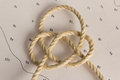 Knots nautical photographed on chart Royalty Free Stock Images