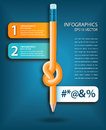 Knotted pencil infographics template use representing roadblocks potential project problems Royalty Free Stock Photos