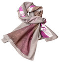 Knotted sewing silk scarf with pink batik pattern Royalty Free Stock Photo