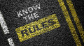 Know the rules on asphalt road Stock Image