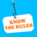 Know the rules on hook shows policy protocol showing ethics or law regulations Royalty Free Stock Image