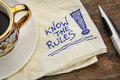 Know the rules reminder a napkin doodle with a cup of espresso coffee Stock Photos