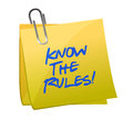 Know the rules written on a post it note Royalty Free Stock Photos