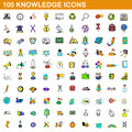 100 knowledge icons set, cartoon style