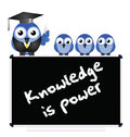 Knowledge message on blackboard with bird teacher and pupils isolated on white background Royalty Free Stock Images