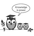 Knowledge owl teacher is power message isolated on white background Royalty Free Stock Photography