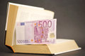 Knowledge payoff euro banknote in a book focus is on the border of the banknote facing you for your advice business secrets Stock Images