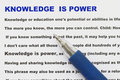 Knowledge is power abstract with narrative document and definition of Royalty Free Stock Image