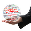 Knowledge is power transparent ball with inscription in a hand Stock Images
