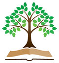 Knowledge tree book logo a concept with a leaf and image Royalty Free Stock Image