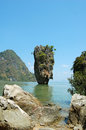 Ko tapu rock on james bond island phang nga bay in thailand Royalty Free Stock Photo