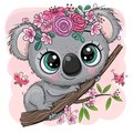 Koala with flowers on a tree on a pink background Royalty Free Stock Photo
