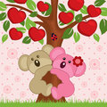 Koala in a tree couple love vector illustration Royalty Free Stock Photography