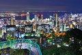 Kobe japan cityscape from venus bridge at at night Royalty Free Stock Photo