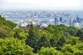 Kobe Port Island and Kobe Airport in Osaka Bay seen from Nunobiki Herb Garden on Mount Rokko in Kobe, Japan Royalty Free Stock Photo