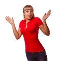 Kobieta excited dziewczyna zaskakująca rzuca up jego ręki Zdjęcie Stock