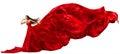 Kobieta w czerwieni sukni z latającą falowanie tkaniną Obrazy Stock
