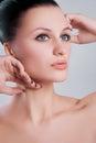 Kobiety piękna portrait closeup żeńskiej twarzy czysta skóra świeża uzupełniał Zdjęcia Stock