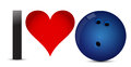 Kocham kręgle serce z kręgle piłką inside Obraz Royalty Free