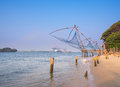 Kochi chinese fishnets in twilight in kochi kerala fort kochin kerala south india Stock Photos