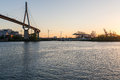 Koehlbrand bridge in the harbor of Hamburg Royalty Free Stock Photo