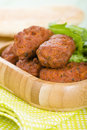 Koftas asian style meatballs served with salad and pita bread Royalty Free Stock Photo