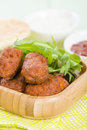 Koftas asian style meatballs served with salad and pita bread Stock Images