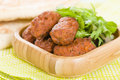 Koftas asian style meatballs served with salad and pita bread Stock Photos