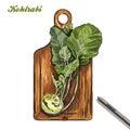 Kohlrabi on a cutting board. harvesting. colored illustration.