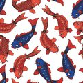 The koi carps. Vector seamless pattern on white background. Hand drawing for design and decoration