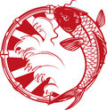 Koi emblem papercut style japanese Royalty Free Stock Images