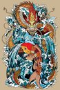 Koi fish and dragon gate illustration according asian myth Royalty Free Stock Photo
