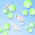 Koi fish in the pool made from tissue paper craft Royalty Free Stock Photography