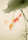 Koi fishes in lotus pond swimming ized brush painting illustration contains a transparency blends gradients ai eps file Royalty Free Stock Photo