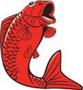 Koi nishikigoi carp fish jumping karikatur Lizenzfreies Stockbild