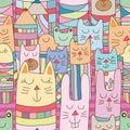 Kokeshi animal many horizontal place seamless pattern