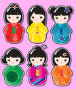 Kokeshi stickers Stock Image